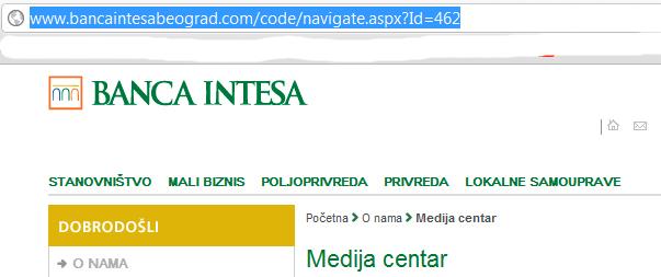 Primer URL-a koji ništa ne znači: Banka Intesa